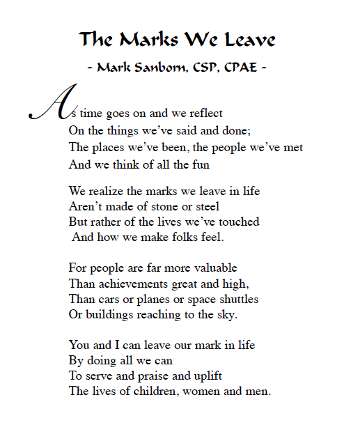 Marks We Leave Poem by Mark Sanborn